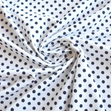 Bavlněný el. jednolíc – potisk modrý puntík