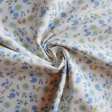 Bavlněné plátno modré kytičky STOF