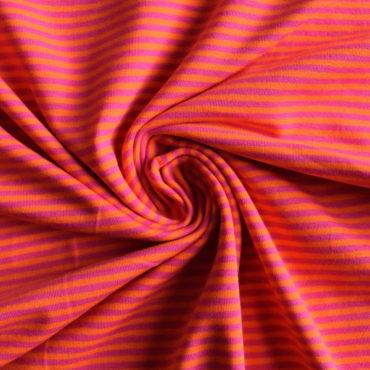 Bavlněný el. úplet – oranžovofuchsiový