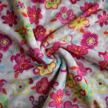 Minky oboustranné – květinky + puntík