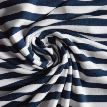 Jednolíc BAMBUS vis. elastický – tm.modrý proužek 1 cm