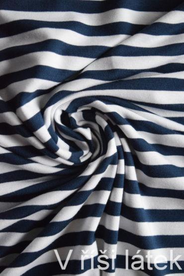 Jednolíc BAMBUS vis. elastický – proužek modro-bílý