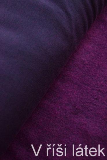 Teplákovina elastická počesaná – černo-růžový melír
