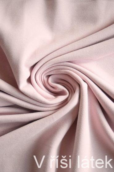 Teplákovina Micromodal elastická – pudrově růžová