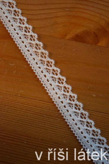 Krajka elastická – bílá, šíře 2 cm