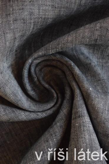 Len 100% chambray melírovaný bílo-černý 70 cm