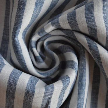 Len 100% měkčený proužek bílo-tmavě modrý
