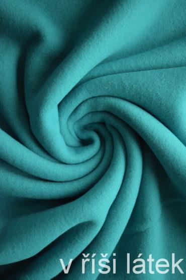 Bavlněný fleece – zelený tyrkys