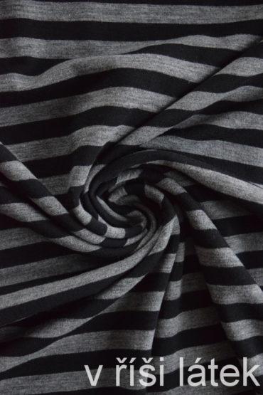 Jednolíc MERINO s elastanem černo-šedý proužek