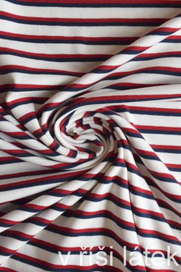 Bio bavlna GOTS – proužek červeno-modrý