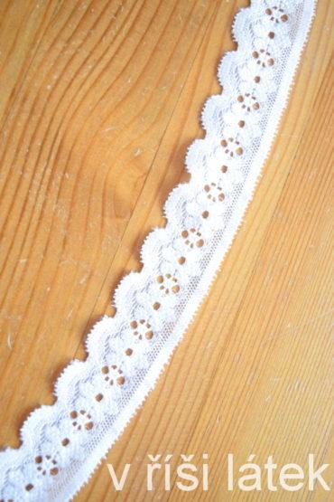 Krajka elastická květ – bílá, šíře 2,5 cm