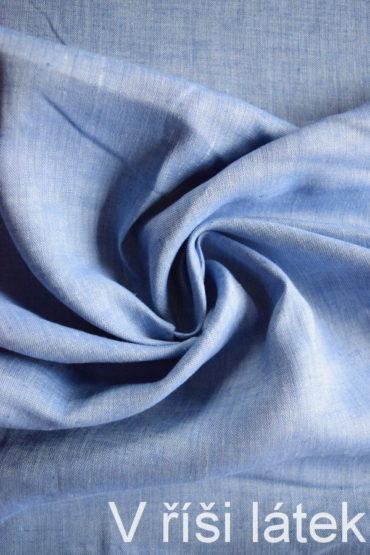 Len 100% měkčený melírovaný sv. modrý – středně modrý