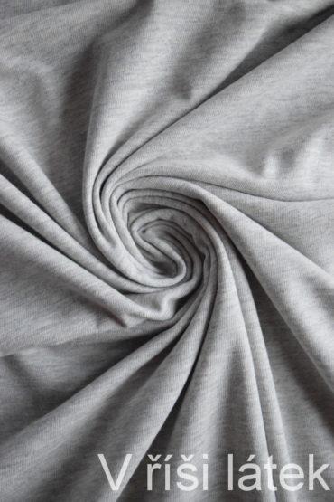 100% Bio bavlněný úplet GOTS – šedý melír
