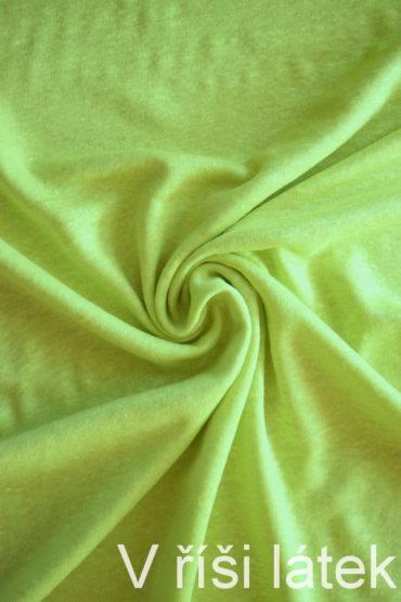Jednolícní 100% lněná pletenina – neon žlutozelená