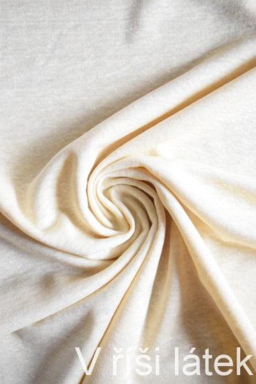 Jednolícní 100% lněná pletenina – krémová