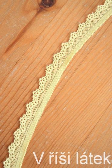 Krajka elastická – světle žlutá, šíře 1,7 cm