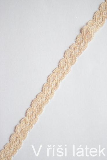 Krajka elastická – kapučíno, šíře 1,9 cm