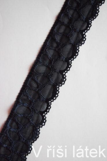 Krajka elastická – tmavě modrá, šíře 6 cm