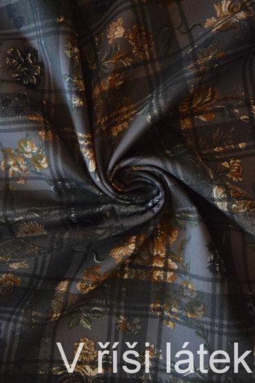 Bavlněný kepr s elastanem – potištěný káro + květy