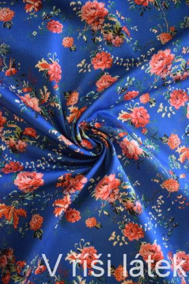 Bavlněný elastický satén – modrý potisk růže