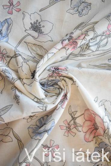Voál 100% bavlna – potisk květy