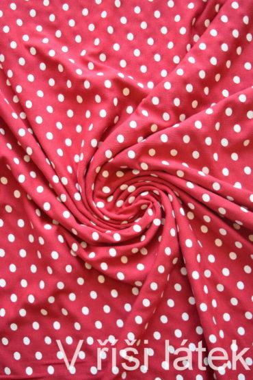 Micromodal elastický – červený s bílým puntíkem
