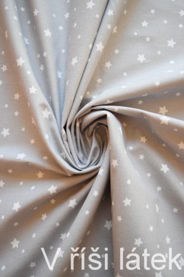 Bavlněné plátno světle šedé + hvězdičky