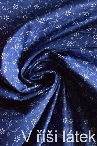 Bavlněné plátno modrotisk – drobné kytičky