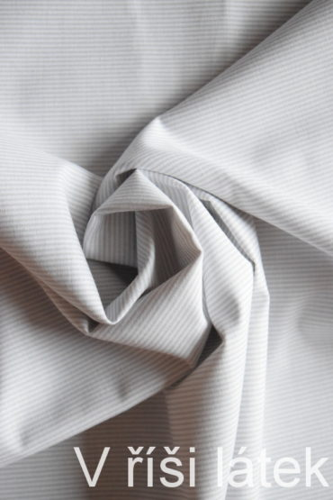 Bavlněné plátno bílé + šedý jemný proužek
