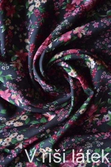 Viskózová tkanina kepr šedá – potisk květy
