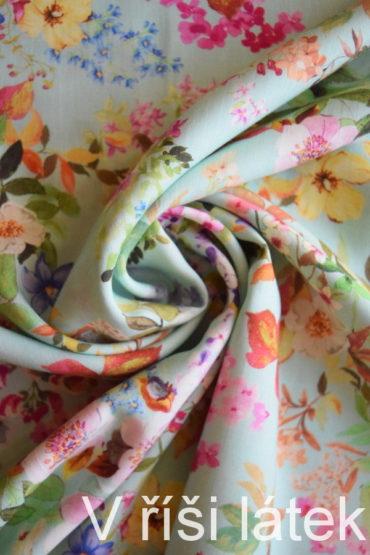 100% Tencel tkanina zelenkavá – dig. potisk květy