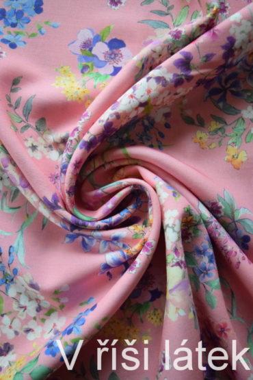 100% Tencel tkanina růžová – dig. potisk květy