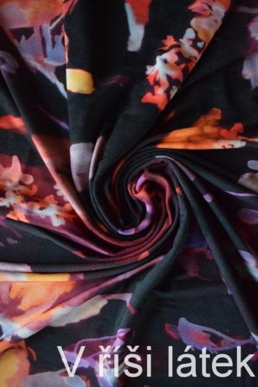 Jednolíc BAMBUS vis. el. potisk květy – černý